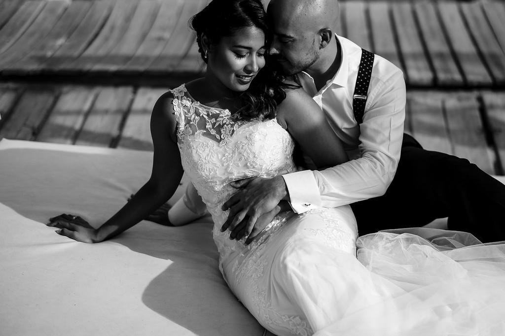 Foto de boda en blanco y negro